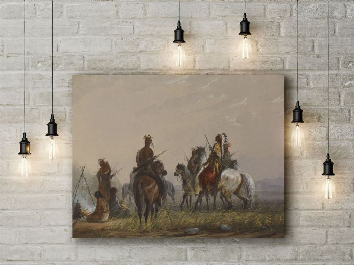 Alfred Jacob Miller: Expedition to Capture Wild Horses -Sioux. Fine Art Canvas.